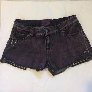 Tripp purple black distressed studded shorts sz 9